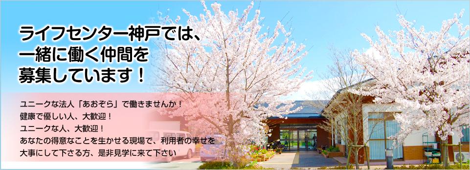 ライフセンター神戸では、一緒に働く仲間を募集しています! ユニークな法人「あおぞら」で働きませんか!健康で優しい人、大歓迎!あなたの得意なことを生かせる現場で、利用者の幸せを大事にしてくださる方、是非見学にきて下さい